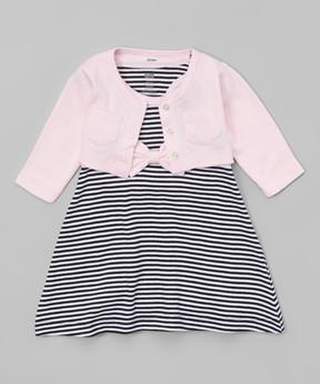 Hudson Baby Pink & Black Stripe Crop Cardigan & Racerback Dress Set - Newborn & Infant