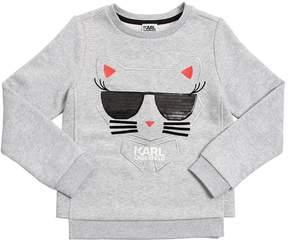 Karl Lagerfeld Choupette Embroidered Cotton Sweatshirt