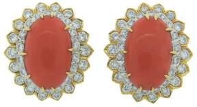 David Webb 18K Yellow Gold Coral Diamond Earrings