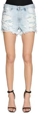Diesel Destroyed Cotton Denim Shorts