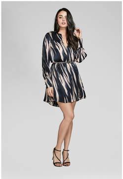 GUESS Belted Long-Sleeve Silk Dress