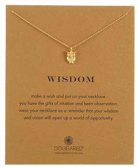Dogeared Gold Plated Sterling Silver Wisdom Owl Pendant Necklace
