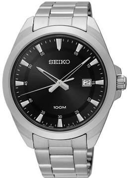 Seiko Men's 42mm Steel Bracelet & Case Hardlex Crystal Quartz Black Dial Analog Watch SUR209