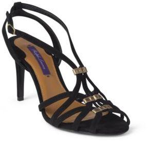 Ralph Lauren Ardin Suede Sandal Black/Antique Gold 37