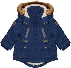 Mayoral Blue Padded Faux Fur Hooded Parka with Teddy Lining