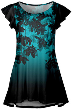 Lily Turquoise & Black Floral Flutter-Sleeve Tunic - Women & Plus