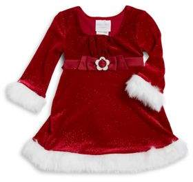 Iris & Ivy Baby Girl's Sparkle Stretch Faux Fur-Trimmed Santa Dress