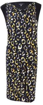 Nine West Women's Cowl neck Cap Sleeve Printed Dress (8, Maize Combo)
