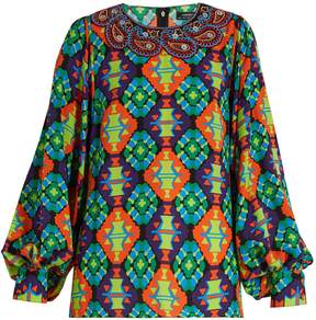 Andrew Gn Geometric-print silk-blend crepe blouse