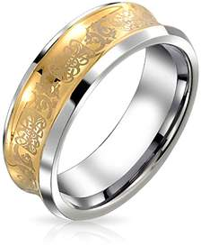 Dragon Optical Bling Jewelry Celtic Tungsten Concave Wedding Ring 9mm.