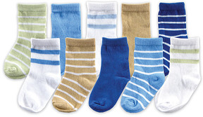 Luvable Friends Taupe & Blue Boxed Socks - Set of Ten