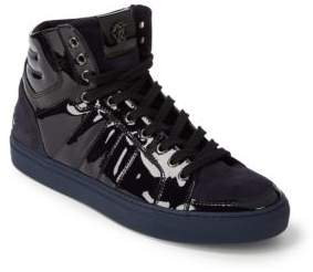 Roberto Cavalli Suede & Velvet High-Top Sneakers
