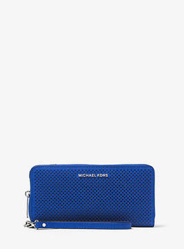Michael Kors Jet Set Travel Perforated-Leather Continental Wristlet - BLUE - STYLE
