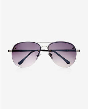 Express silver mirrored rimless aviator sunglasses