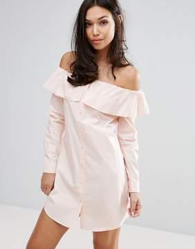 Fashion Union Off Shoulder Shirt Dress