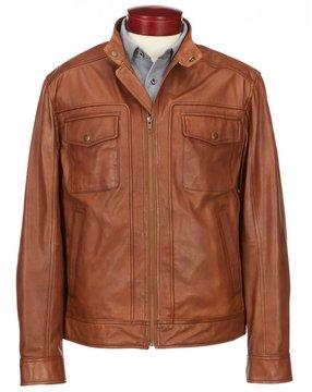 Roundtree & Yorke Lambskin Leather Patch Pocket Hipster Jacket
