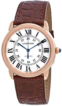 Cartier Ronde Solo Silver Dial Automatic Ladies Leather Watch