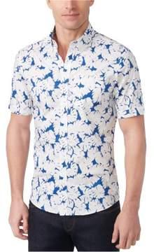 Michael Kors Julian Stretch Button Up Shirt Blue M