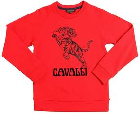 Roberto Cavalli Tiger Flocked Printed Cotton Sweatshirt