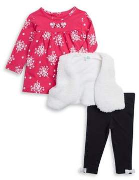Little Me Baby Girl's Three-Piece Open Front Vest, Floral Top and Leggings Set