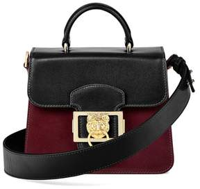 Aspinal of London Small Lion Lansdowne Bag In Smooth Black Smooth Claret