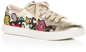 Kenneth Cole Women's Kam Leather Floral Appliqué Lace Up Sneakers