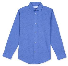Calvin Klein Boys Triangle Button Up Shirt Blue M - Big Kids (8-20)