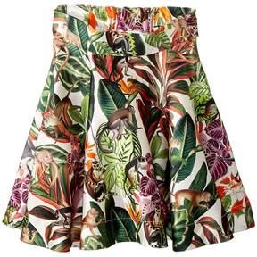 Oscar de la Renta Childrenswear Mikado Jungle Monkeys New Skirt Girl's Skirt