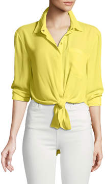 T Tahari Button-Front Long-Sleeve Blouse