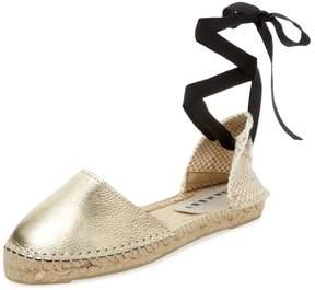Manebi Women's Los Angeles Metallic Leather Flat Sandal