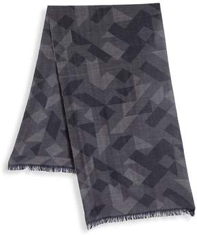 Saks Fifth Avenue BY JOHNSTONS Printed Merino Wool Frayed Scarf