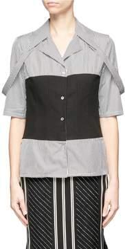 Aalto Button shoulder strap mock corset stripe poplin shirt
