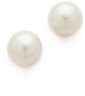 Kenneth Jay Lane Large Glass Pearl Post Earrings
