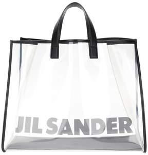 Jil Sander logo transparent shopper tote