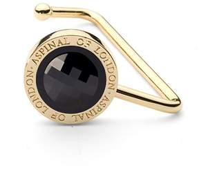 Aspinal of London | Handbag Hook In Black Patent Leather Black Swarovski Elements | Black patent jet swarovski elements