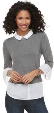 Elle Women's Printed Mock-Layer Top