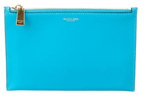 Michael Kors Leather Zip Pouch - BLUE - STYLE