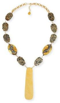 Devon Leigh Dalmatian Jasper Station Necklace