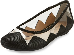 Neiman Marcus Sapphire Scalloped Illusion Flat, Black