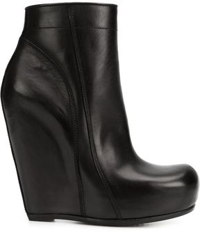 Rick Owens tall zip wedge boots