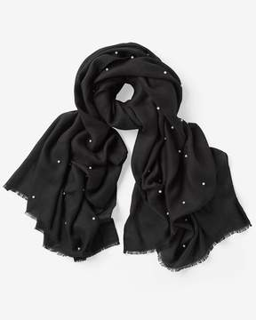 White House Black Market Faux Pearl Studded Oblong Scarf