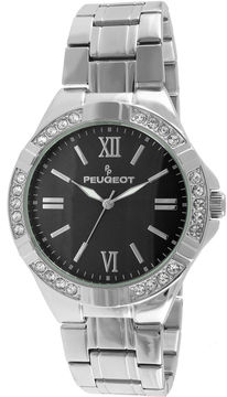 Peugeot Mens Crystal-Accent Silver-Tone Watch