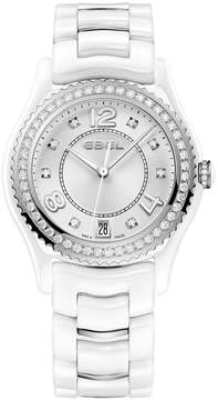 Ebel X-1 Silver Diamond Dial Ladies Steel and Ceramic Watch