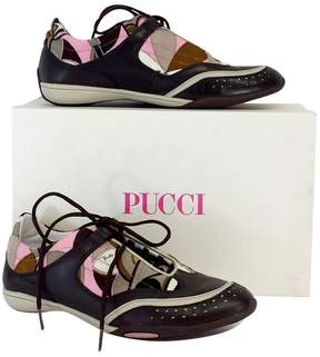 Emilio Pucci Brown & Pink Print Sneakers