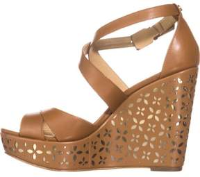 Michael Kors Womens Sienna Floral Leather Open Toe Special Occasion Platform ...