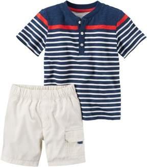 Carter's Baby Boys Striped Henley Shorts Set