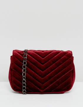 Glamorous Wine Velvet Cross Body Bag With Chain Strap