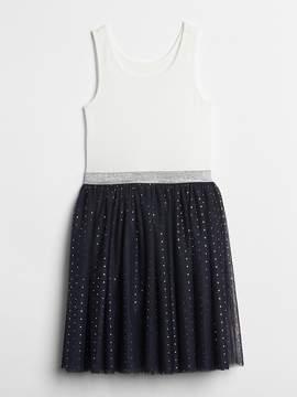 Gap Dot Tulle Mix-Fabric Dress