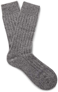Pantherella Waddington Ribbed Mélange Cashmere-Blend Socks