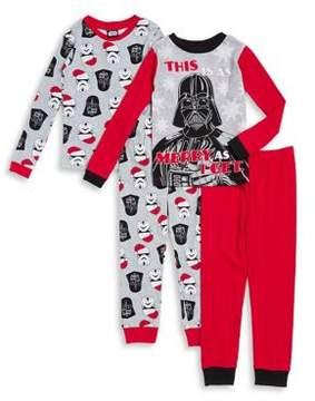 AME Sleepwear Little Boy's and Boy's Four-Piece Darth Vader Cotton Pajama Set